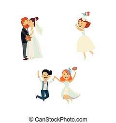 面白い, 結婚式, 跳躍, 接吻, 恋人