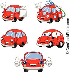 面白い, 自動車, 漫画, コレクション, 赤