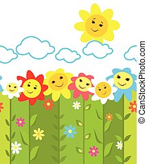 面白い, 花, ボーダー, seamless, カラフルである