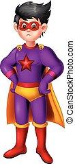 面白い, 英雄, 男の子, 紫色, 衣装, 極度, 漫画