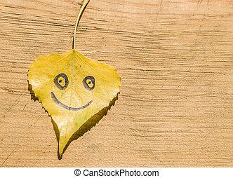 面白い, 葉, 木製である, 黄色の額面, 背景, 古い