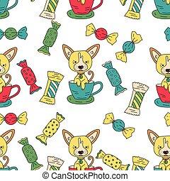 面白い, 装飾, elements., パターン, seamless, 犬, ベクトル, 特徴