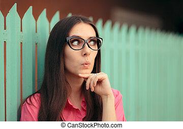面白い, 計画, 考え, cat-eye, 作成, 女の子, ガラス
