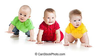 面白い, 赤ん坊, 行きなさい, 下方に, 上に, すべて, fours.