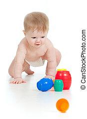 面白い, 赤ん坊, 行く, 下方に, すべての fours, ∥で∥, 色, おもちゃ