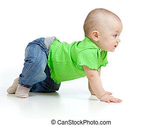 面白い, 赤ん坊, 行く, 下方に, すべての fours
