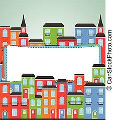 面白い, 都市, text., ベクトル, 場所, 背景, あなたの