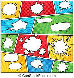 面白い, 雲, 背景, 漫画, 漫画, 煙, layout., ベクトル, スピーチ, レトロ, テンプレート, スクラップブック, 泡, しまのある, ページ, レイアウト
