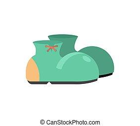 面白い, 靴, isolated., ピエロ, ブーツ, 背景, 白