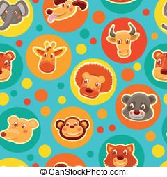 面白い, 頭, パターン, seamless, 動物, 漫画