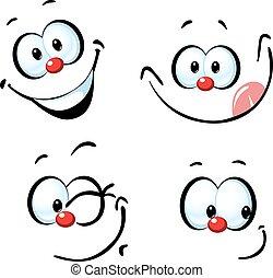 面白い, -, 顔, ベクトル, 微笑, 漫画