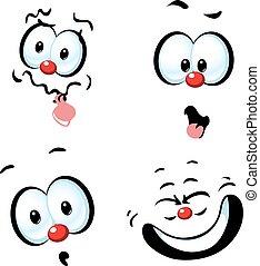 面白い, -, 顔, ベクトル, 漫画, にやにや笑い