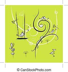 面白い, 鳥, デザイン, 背景, 緑, あなたの