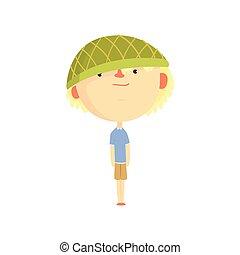 面白い, ?artoon, 男の子, 中に, 緑の帽子, カラフルである, 特徴, ベクトル, イラスト