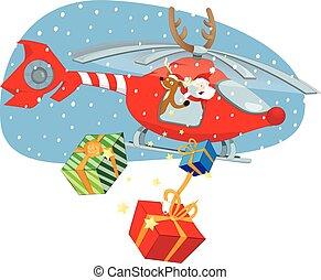 面白い, claus, ギフトを渡すこと, トナカイ, santa, ヘリコプター, 赤