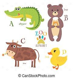 面白い, d, c, b, アルファベット, 牛, a, letters., 熊, アヒル, animals., 動物園, 漫画, ワニ