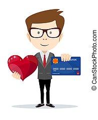 面白い, heart., ビジネス, プラスチック, クレジットカード, 漫画, 赤, 人