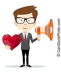 面白い, heart., ビジネス, メガホン, 漫画, 赤, 人