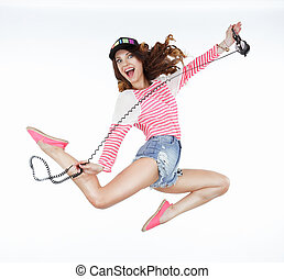 面白い, lifestyle., 自由, 動的, 女, jumping., 活気づけられた