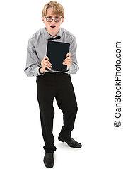 面白い, nerd, ティーンエージャーの少年, ∥で∥, 電子, e 本, reader., クリッピング道, 上に, white.