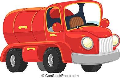 面白い, old-styled, トラック, タンカー, 赤