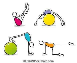 面白い, pilates, 練習する, 人