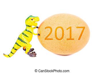 面白い, plasticine, 恐竜, おもちゃ, そして, 卵, ∥で∥, 2017.