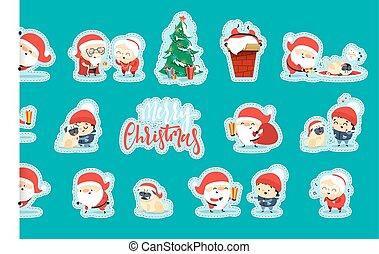 面白い, santa, 平ら, claus, クリスマス, 特徴, quirky, style.