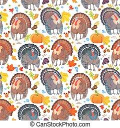 面白い, seamless, パターン, ∥で∥, かわいい, turkeys., 幸せ, 感謝祭, 日