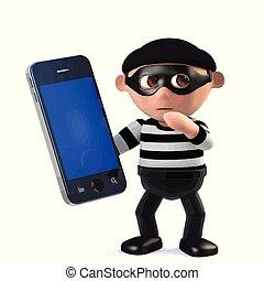 面白い, smartphone, 強盗, 特徴, 盗まれた, 持つ, 3d