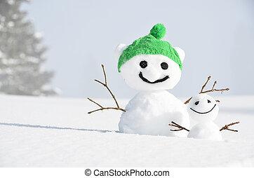 面白い, snowmen, 対