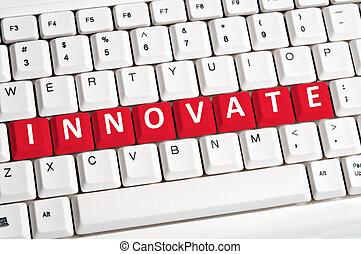 革新しなさい, 単語, 上に, キーボード
