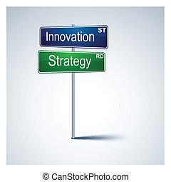革新, 作戦, 方向, 道, 印。