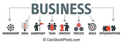 革新, 管理, 金融, 事務, concept., 創造性, 項目, strategy., 報告, 旗幟, 咨詢