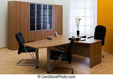 革, テーブル, 椅子