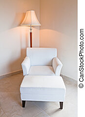 革, ランプ, 白, 立ちなさい, 椅子