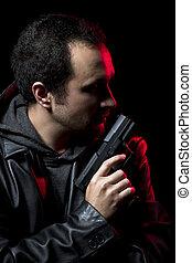 革, 危ない, 銃, ジャケット, 黒い 人
