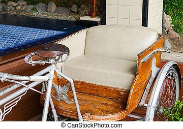 革, 古い, ベージュ, クッション, 三輪車