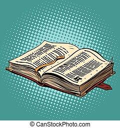 革, 聖書, 古い, 宗教, binding., 本