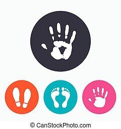 靴, シンボル。, icons., 手, 痕跡, フィートの 印刷物