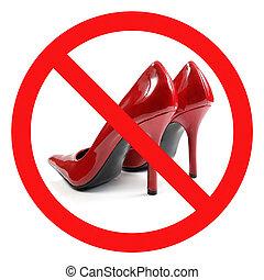 靴, 交差させる, 赤, 高かかと, 印