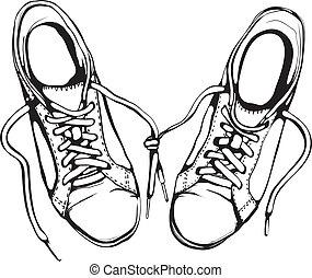 靴, 動くこと, 黒, ぼろぼろ, インク