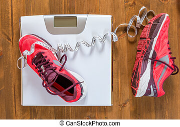靴, 床, 木製である, スケール, 女性, 動くこと, の上, 光景