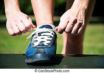 靴, 得ること, ランナー, 動くこと, ジョッギング, 準備ができた, つらい