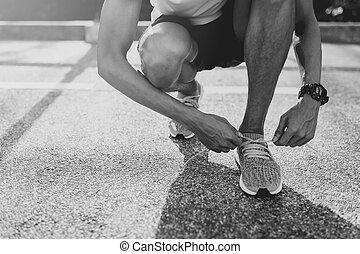 靴, 得ること, ランナー, filter., 動くこと, 黒, 準備ができた, 白, つらい, run.