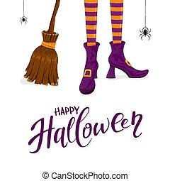 靴, 紫色, ほうき, ハロウィーン, 魔女, 足, 幸せ