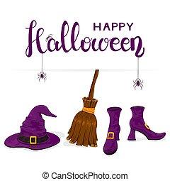 靴, 紫色, テキスト, ほうき, ハロウィーン, 魔女ハット, 幸せ