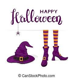 靴, 紫色, テキスト, ハロウィーン, 魔女, 足, 帽子, 幸せ