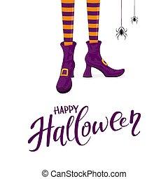 靴, 紫色, ハロウィーン, 魔女, 足, 幸せ