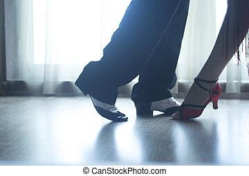 靴, 舞踏会場ダンス, 恋人, ダンサー, 足, 教える